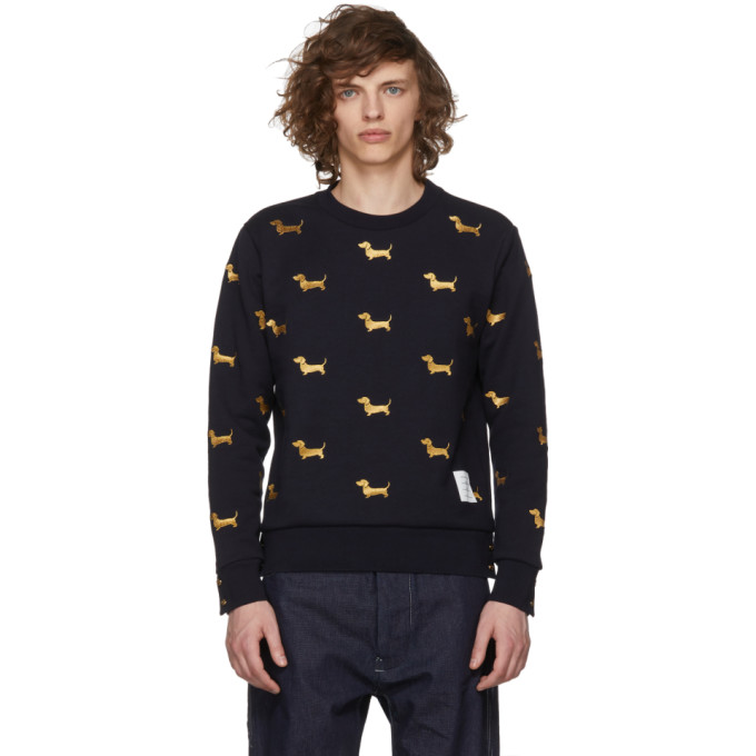 Thom Browne Navy Hector Half-Drop Crewneck Sweatshirt