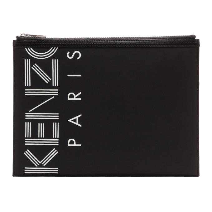 Kenzo Black A4 Logo Pouch