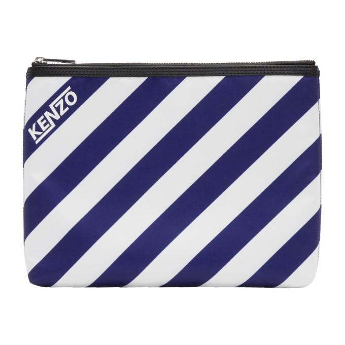 Kenzo Blue & White Striped A4 Logo Pouch