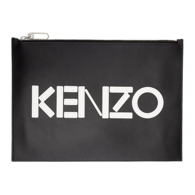 Kenzo Black Logo Zip Pouch