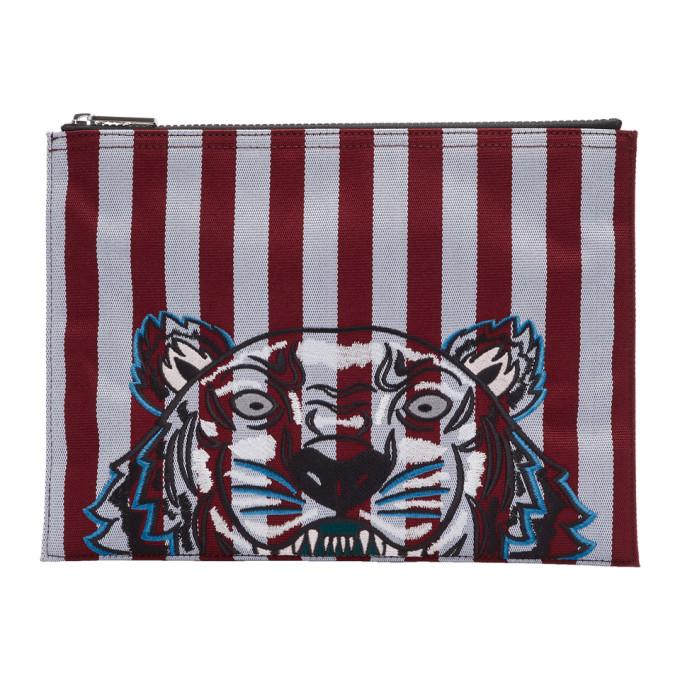 Kenzo Burgundy & Blue Striped Tiger A4 Pouch