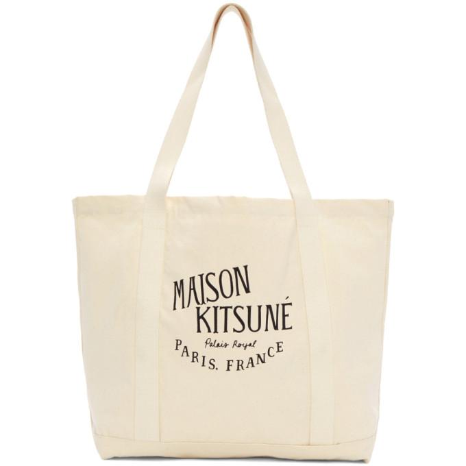Maison Kitsune Ecru 'Palais Royale' Tote