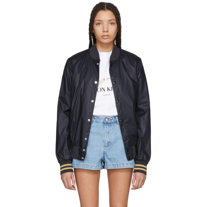 Maison Kitsuné SSENSE Exclusive Black Logo Teddy Jacket