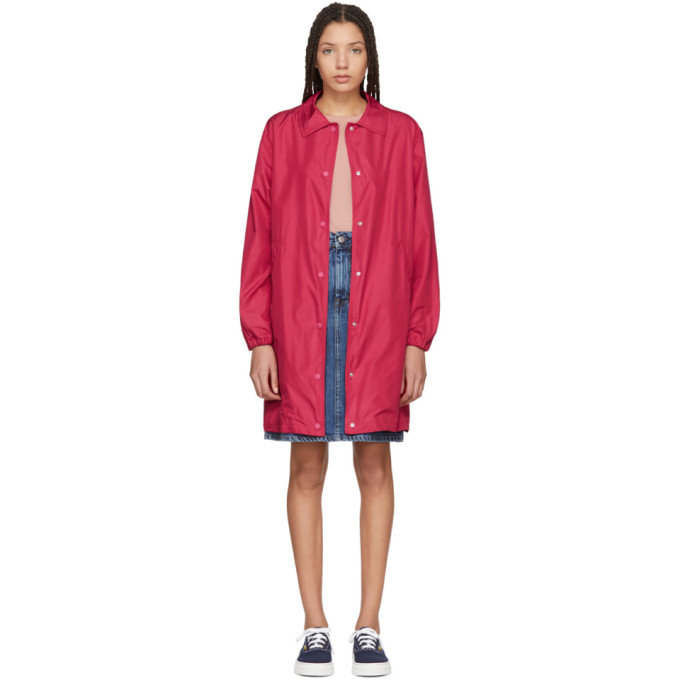 Maison Kitsuné Red Long Bertile Windbreaker Jacket