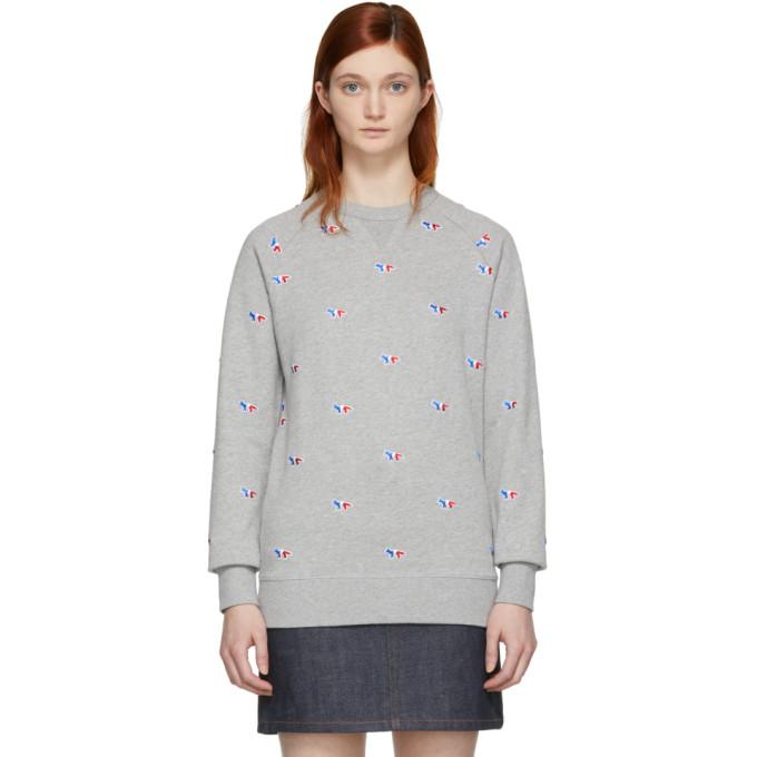 Maison Kitsuné Grey All Over Fox Sweatshirt
