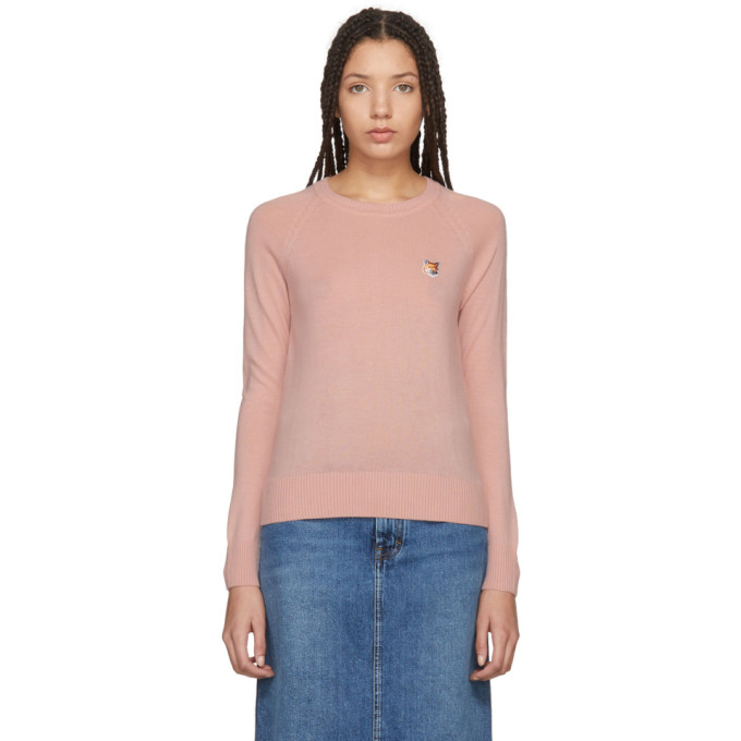 Maison Kitsuné Pink Merino Crewneck Sweater