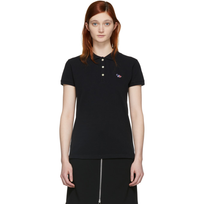 Image of Maison Kitsuné Black Tricolor Fox Patch Polo