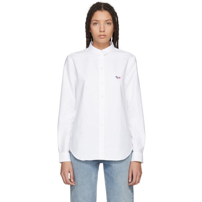 Maison Kitsuné White Tricolor Fox Patch Classic Shirt