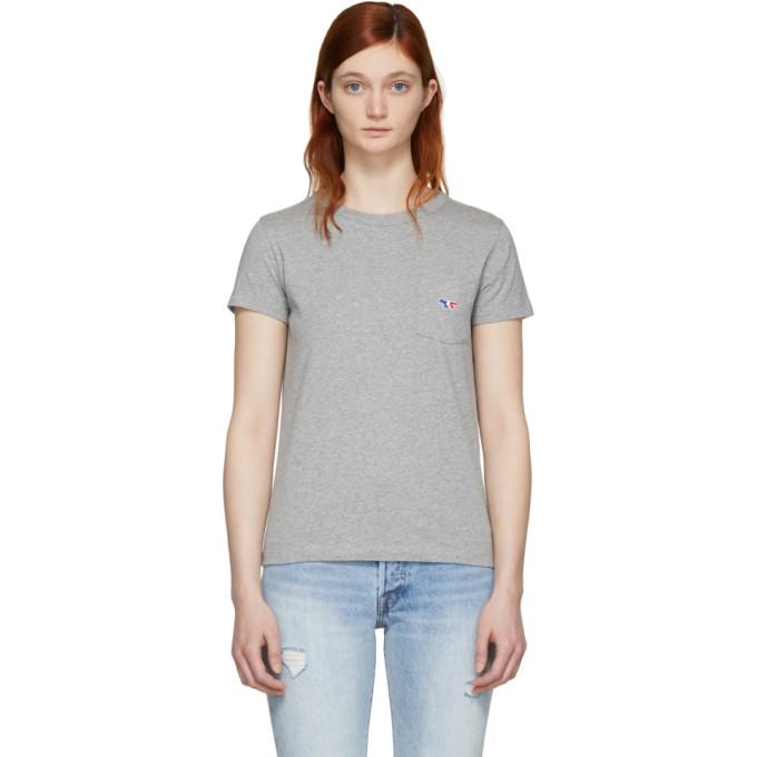 Maison Kitsuné Grey Tricolor Fox Patch T-Shirt