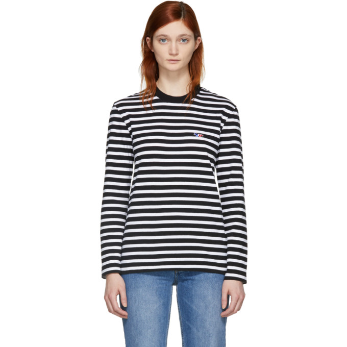 Image of Maison Kitsuné Black & White Striped Tricolor Fox Patch T-Shirt
