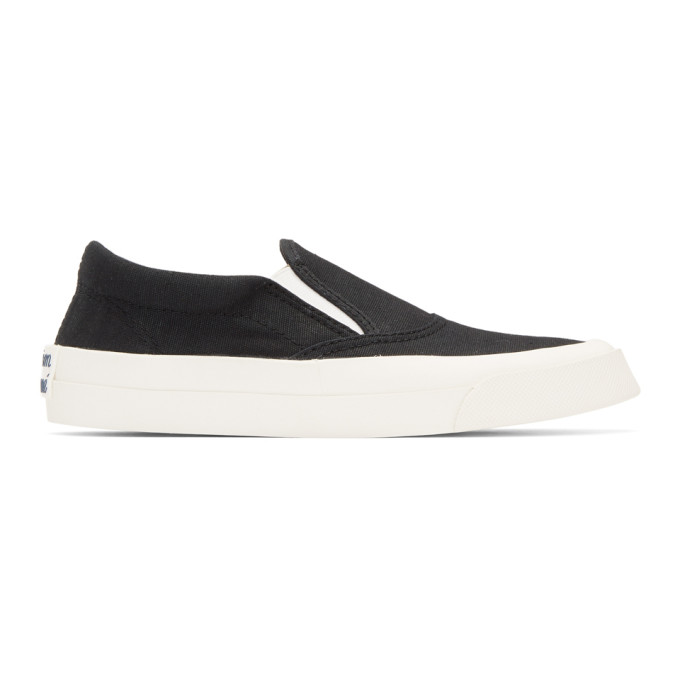 Image of Maison Kitsuné Black Slip-On Sneakers
