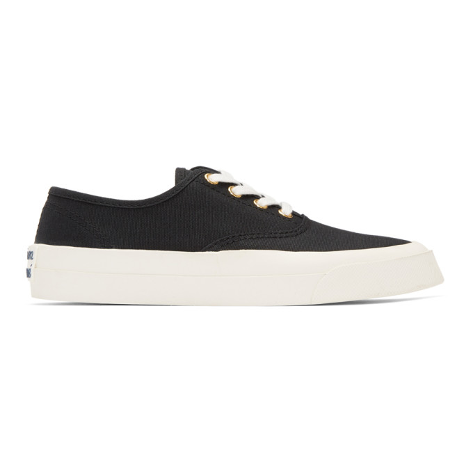 Image of Maison Kitsuné Black Laced Sneakers