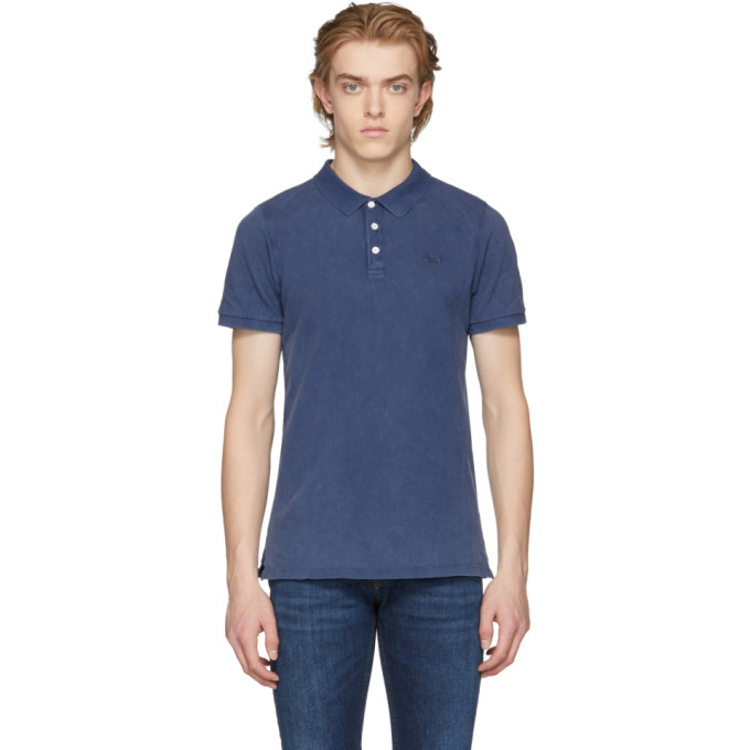 Image of Maison Kitsuné Blue Embroidered Fox Polo