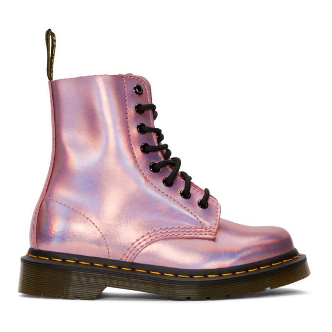 Dr. Martens Pink Reflective Metallic Pascal Lace-Up Boots