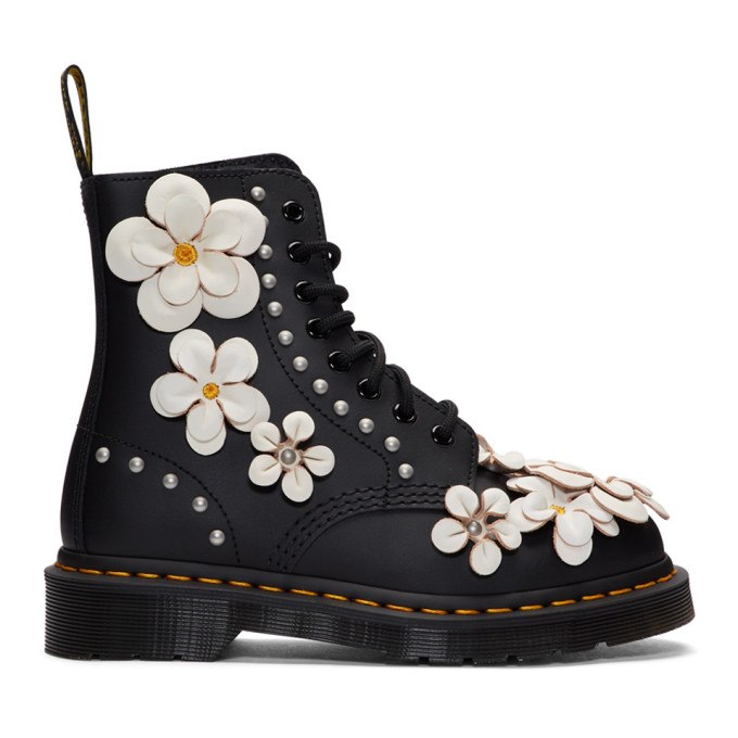 Dr. Martens Black Pascal Flower Boots