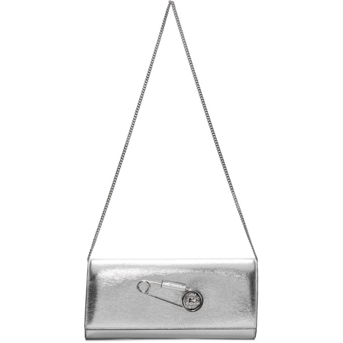 Versus Silver Oversized Safety Pin Clutch
