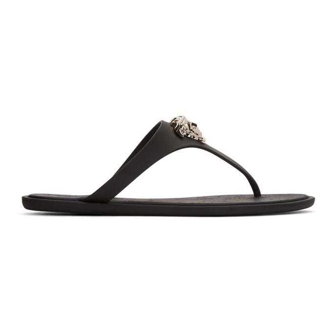 Versace Black Rubber Medusa Sandals