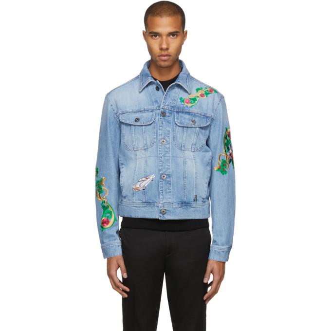 Versace ブルー エンブロイダ デニム ジャケット