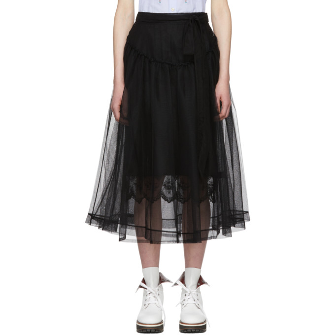Image of Simone Rocha Black Bow Belt Tulle Skirt