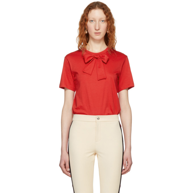 Image of Simone Rocha Red Bow Tie T-Shirt