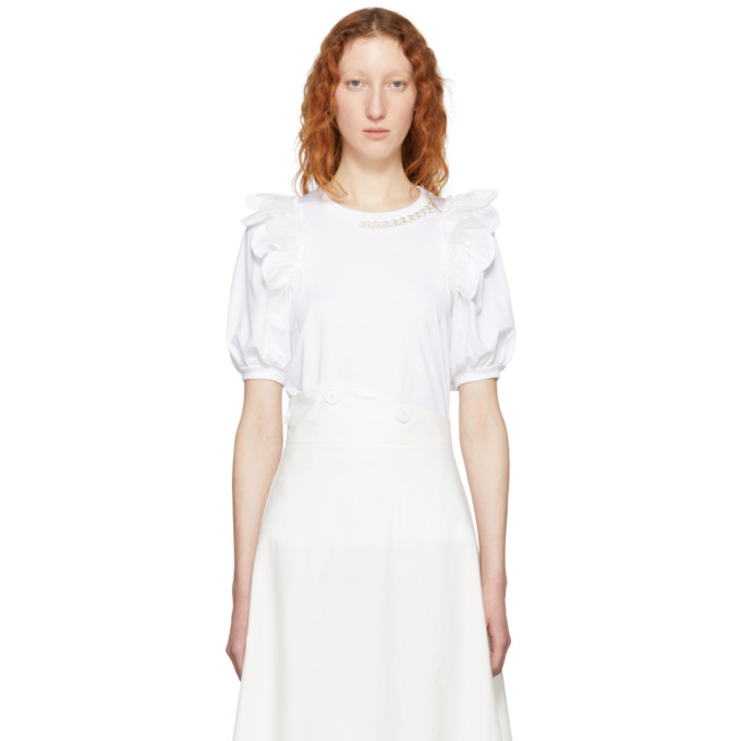 Image of Simone Rocha White Beaded Puff Sleeve T-Shirt