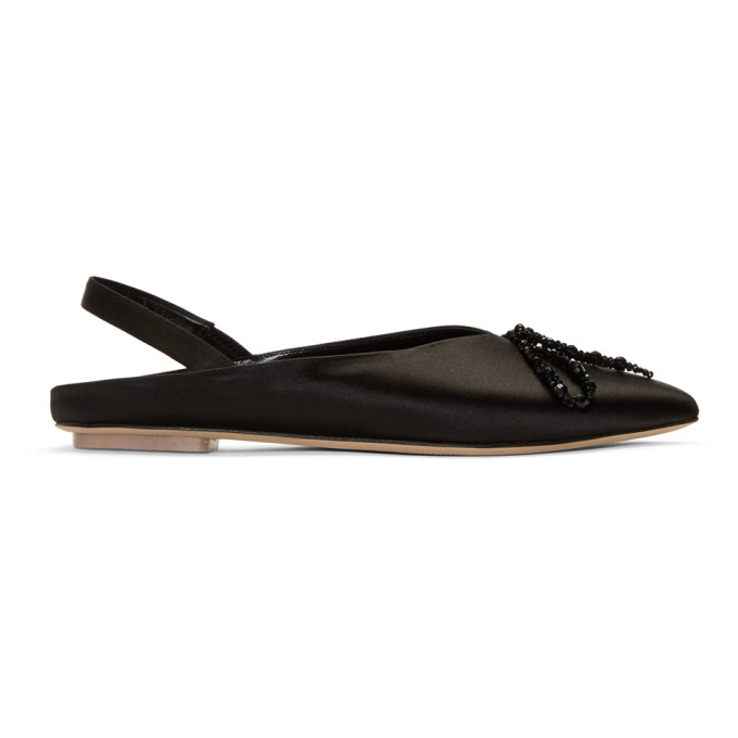 Image of Simone Rocha Black Satin Beaded Bow Ballerina Flats