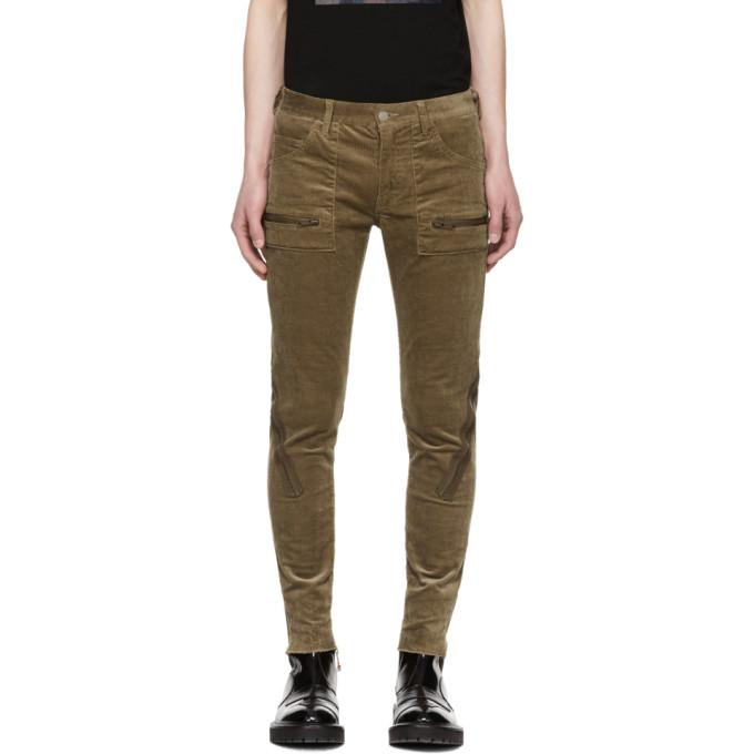 Image of Undercover Beige Corduroy Zip Skinny Jeans
