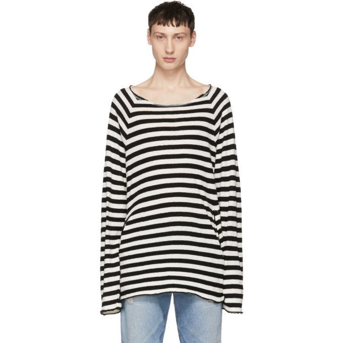 Image of Undercover Black & White Striped Knit Sweater