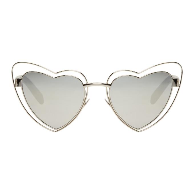 Saint Laurent Silver SL 197 Lou Lou Cut-Out Sunglasses