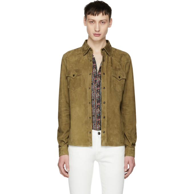 Image of Saint Laurent Brown Suede Shirt Jacket