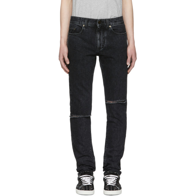 Saint Laurent Black Skinny Trash Jeans