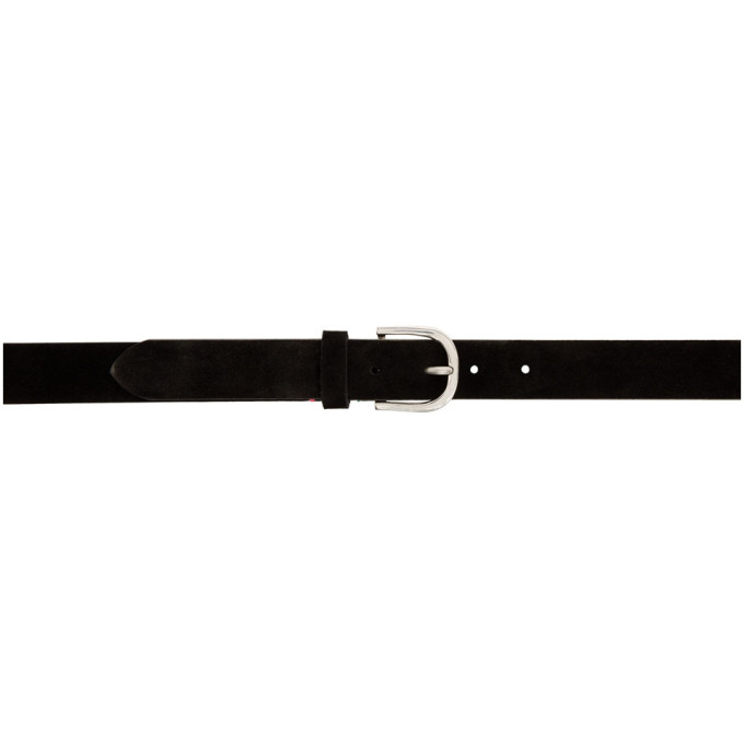 Ps By Paul Smith Black Suede Stitch Belt