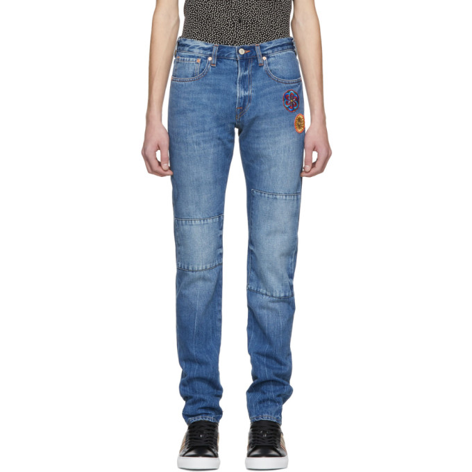 Ps By Paul Smith Blue Embroidered Slim Standard Fit Jeans