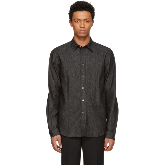Ps By Paul Smith Black Tailored Denim Shirt