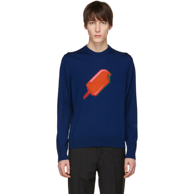 Ps By Paul Smith Navy Merino Popsicle Sweater