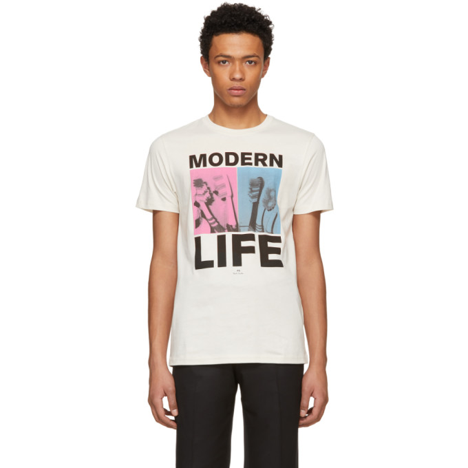Image of PS by Paul Smith Beige 'Modern Life' T-Shirt