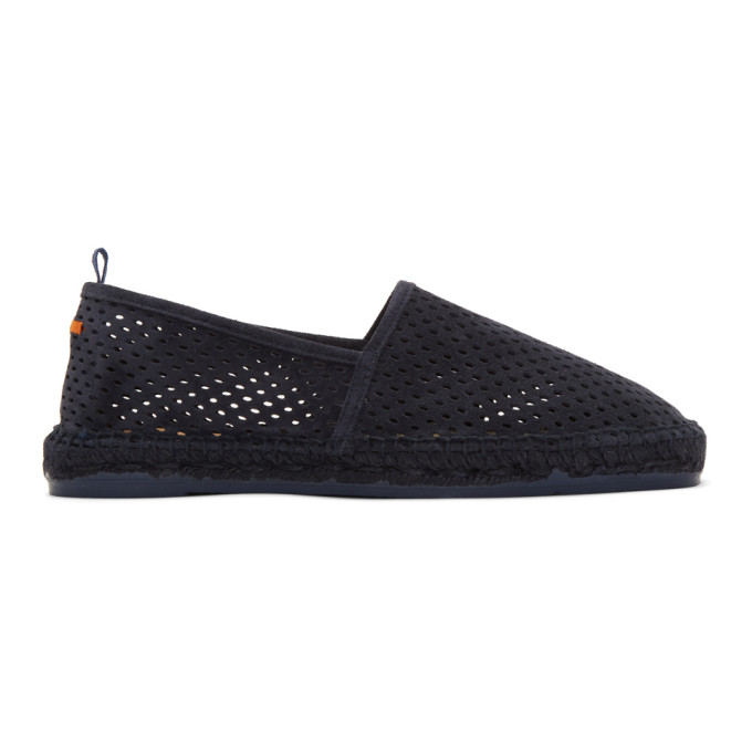 Image of Castañer Navy Perforated Suede Pablo Espadrilles