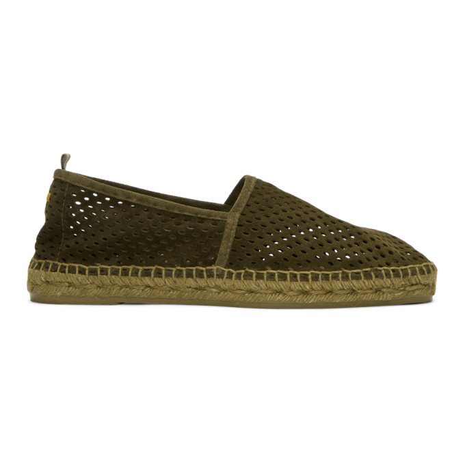 Image of Castañer Green Perforated Pablo Espadrilles