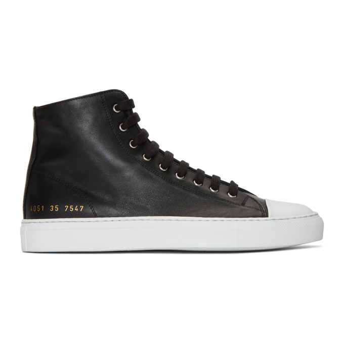 Image of Woman by Common Projects Black & White Tournament High Cap Toe Sneakers