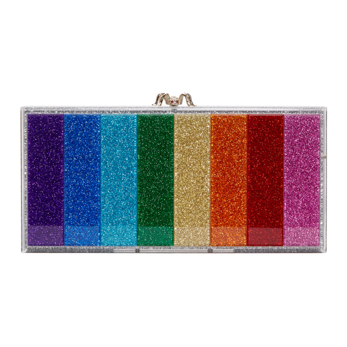 Charlotte Olympia Silver Rainbow Glitter Perspex Penelope Clutch