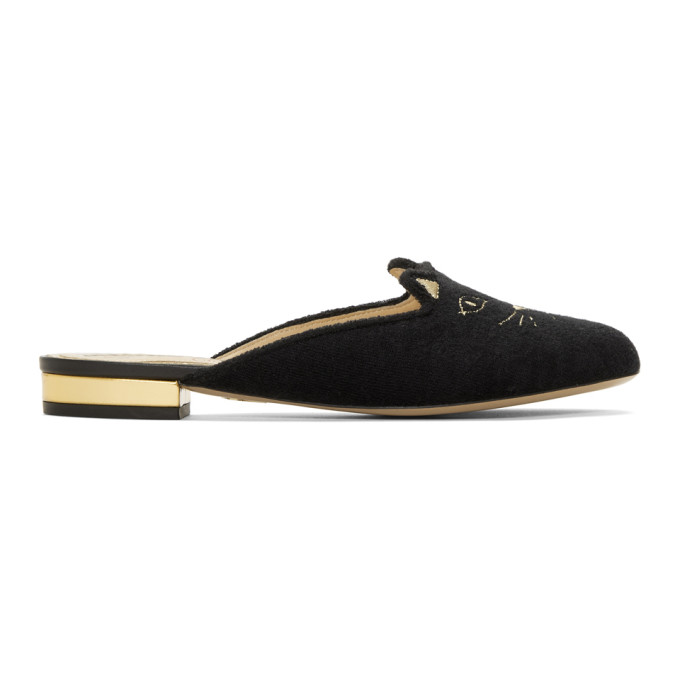 Image of Charlotte Olympia Black French Terry Kitty Slippers