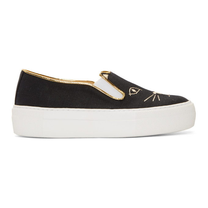 Image of Charlotte Olympia Black Linen Cool Cats Sneakers