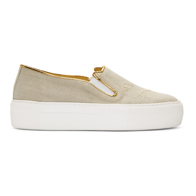 Image of Charlotte Olympia Beige Linen Cool Cats Sneakers