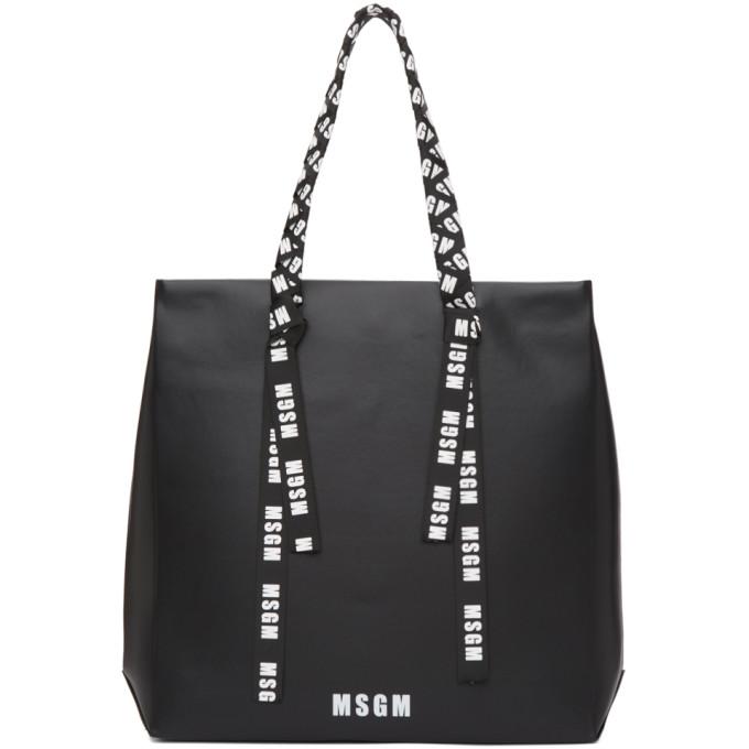 MSGM Black Large Logo Ribbon Shopper Tote