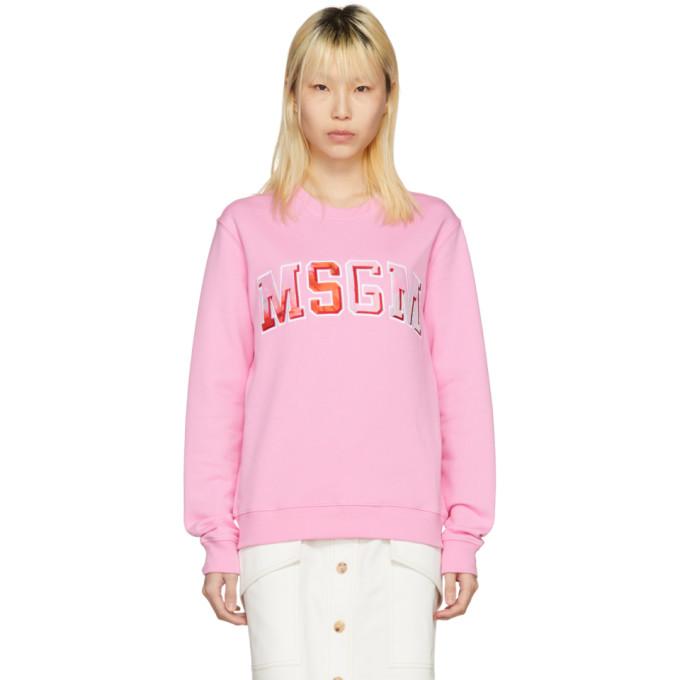 MSGM Pink Tie-Dye Logo Sweatshirt