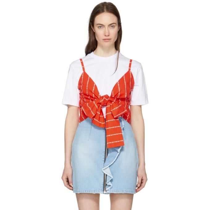 MSGM White & Red Logo Stripe Bow T-Shirt