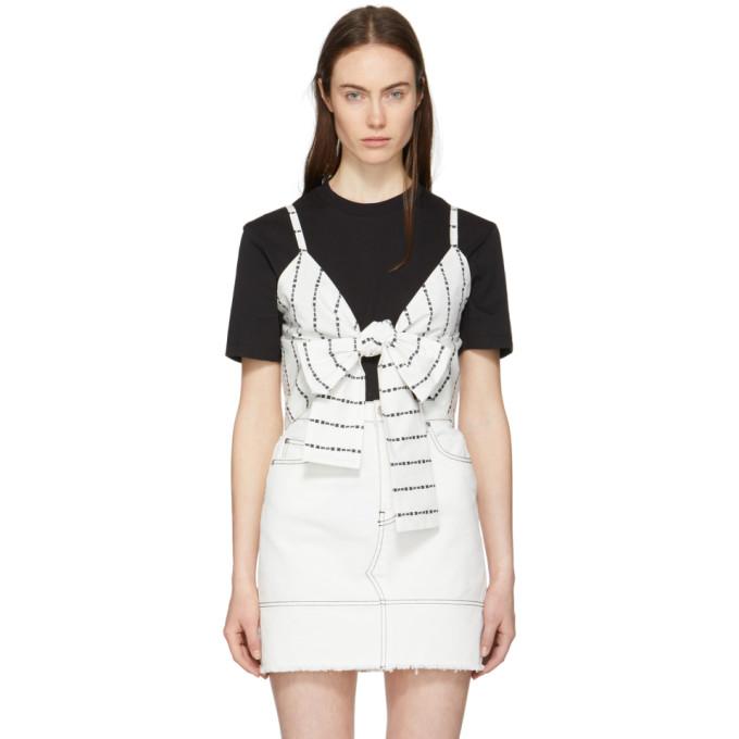 MSGM Black & White Logo Stripe Bow T-Shirt