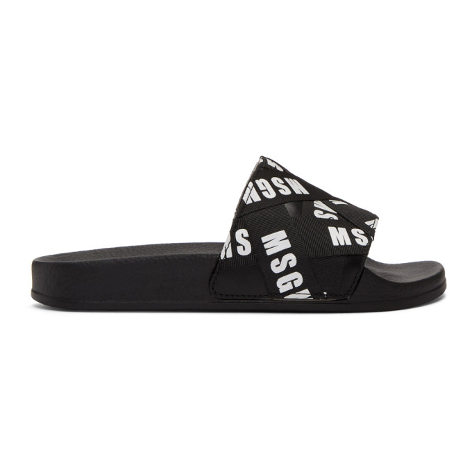 95484784698c MSGM Black Logo Ribbons Pool Slides