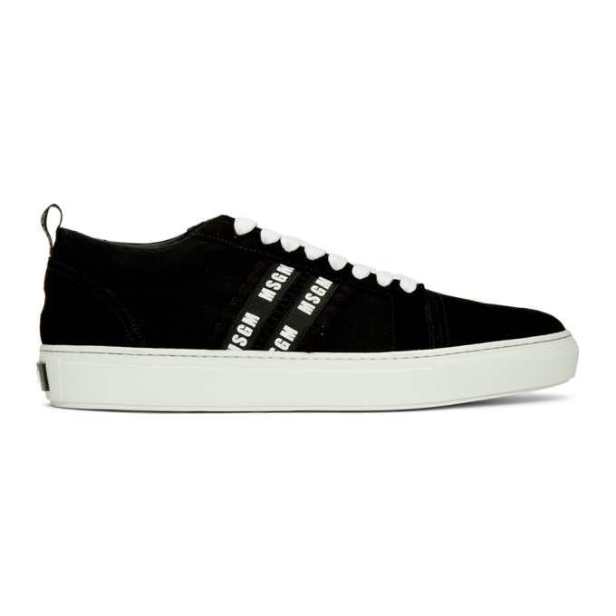MSGM Black & White Suede Twin Logo Band Sneakers