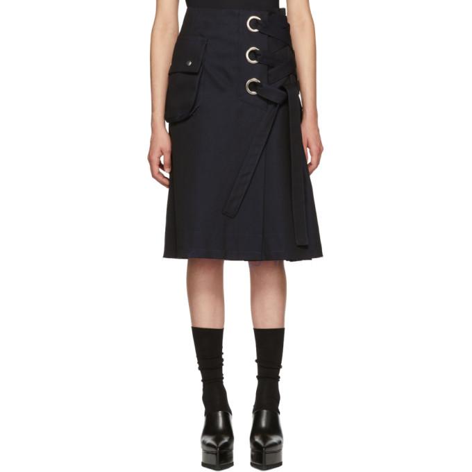 Image of Sacai Black Cotton Twill Skirt